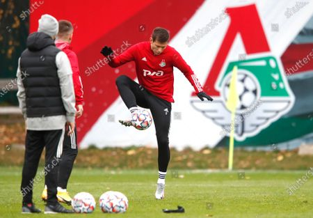 Lokomotiv's forward Fedor Smolov during the training session in Moscow, Russia, . Lokomotiv Moscow will play against Bayern Munich in Champions League soccer match on Tuesday