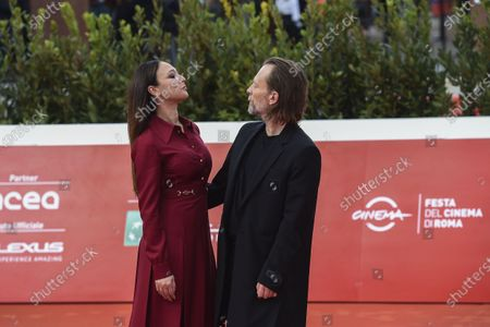 Thom Yorke, with his wife Italian actress Dajana Roncione, attends the red carpet