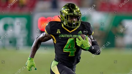 Stock Picture of South Florida wide receiver Omarion Dollison (4) runs against Tulsa during the second half of an NCAA college football game, in Tampa, Fla
