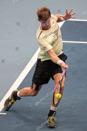 Kevin Anderson of South Africa in action during his first round match against Dennis Novak of Austria at the Erste Bank Open ATP tennis tournament in Vienna, Austria, 26 October 2020.