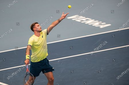 Dennis Novak of Austria in action during his first round match against Kevin Anderson of South Africa at the Erste Bank Open ATP tennis tournament in Vienna, Austria, 26 October 2020.