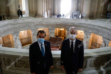 Romanian Prime Minister Ludovic Orban (L) and French Junior Minister of Foreign Trade Franck Riester (R) pose at the Tomb of Napoleon in the Invalides in Paris, France, 26 October 2020, during a welcoming event at the start of a two-day official visit.