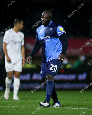 Adebayo Akinfenwa of Wycombe Wanderers limps during the second half