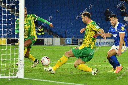 Branislav Ivanovic (C) and Jake Livermore (2L) of West Bromwich in action during the English Premier League match between Brighton & Hove Albion and West Bromwich Albion in Brighton, Britain, 26 October 2020.