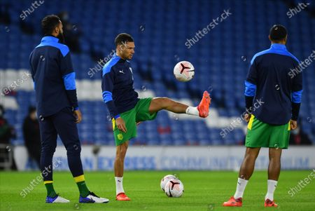 Stock Photo of Kieran Gibbs (C) of West Bromwich warms up prior the English Premier League match between Brighton & Hove Albion and West Bromwich Albion in Brighton, Britain, 26 October 2020.