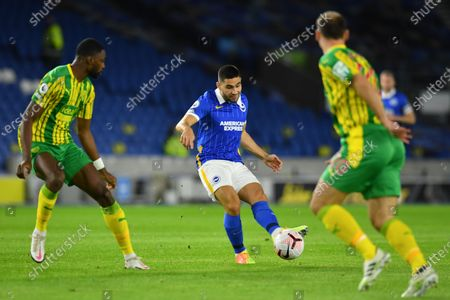 Neal Maupay (C) of Brighton in action against Branislav Ivanovic (R) of West Bromwich  during the English Premier League match between Brighton & Hove Albion and West Bromwich Albion in Brighton, Britain, 26 October 2020.