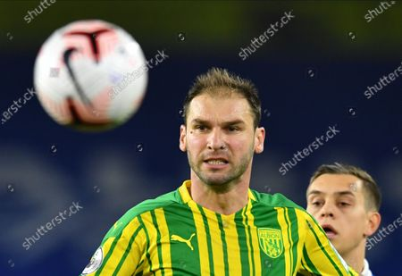 Branislav Ivanovic (C) of West Bromwich during the English Premier League match between Brighton & Hove Albion and West Bromwich Albion in Brighton, Britain, 26 October 2020.