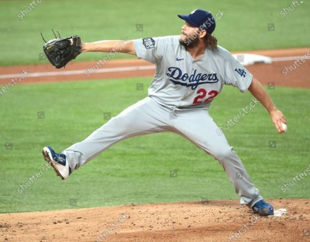Arlington, Texas, Sunday, October 25, 2020 Los Angeles Dodgers starting pitcher Clayton Kershaw (22) pitches in the first inning in game five of the World Series at Globe Life Field. (Robert Gauthier/ Los Angeles Times)