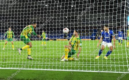 West Bromwich Albion's Branislav Ivanovic, second right, hits the ball into West Bromwich Albion's Jake Livermore, left, and then into the net for an own-goal 1-0 to Brighton during the English Premier League soccer match between Brighton and West Bromwich Albion at the American Express Community Stadium in Brighton, England