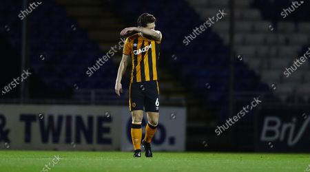 Richard Smallwood of Hull City shows a look of dejection after conceding the opening goal