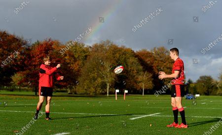 James Davies and Liam Williams during training.