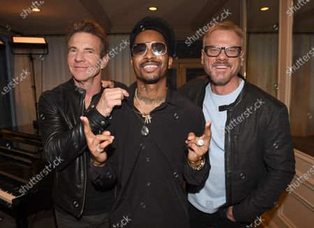 Chingy and Dennis Quaid on the set of Phil Vassar's 'Songs from the Cellar' on Circle Television Network, in Nashville, TN. Airing October 29, 2020 on Circle @PhilVassarSFTC @circleallaccess