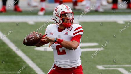 Stock Photo of Nebraska quarterback Adrian Martinez plays against Ohio State during an NCAA college football game, in Columbus, Ohio