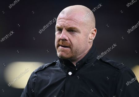 Stock Image of Burnley's manager Sean Dyche walks from the field at halftime during the English Premier League soccer match between Burnley and Tottenham Hotspur at Turf Moor stadium Burnley, England
