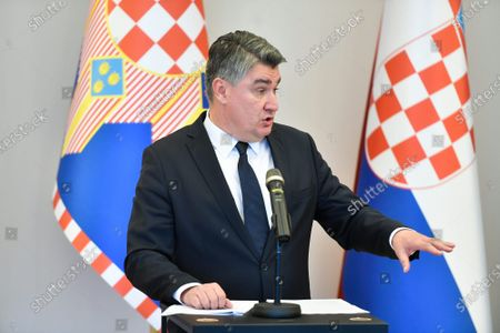 Stock Picture of Croatian President Zoran Milanovic held a press conference.