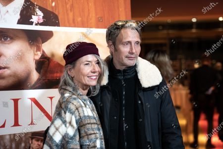 Stock Photo of Mads Mikkelsen (R) and his wife Hanne Jacobsen attend the premiere of the film 'Falling' by Danish-US actor Viggo Mortensen in Copenhagen, Denmark, 26 October 2020. The film is Mortensen's debut as director and screenwriter and opens in Danish theaters on 04 November.