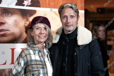 Stock Picture of Mads Mikkelsen (R) and his wife Hanne Jacobsen attend the premiere of the film 'Falling' by Danish-US actor Viggo Mortensen in Copenhagen, Denmark, 26 October 2020. The film is Mortensen's debut as director and screenwriter and opens in Danish theaters on 04 November.