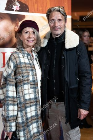 Stock Image of Mads Mikkelsen (R) and his wife Hanne Jacobsen attend the premiere of the film 'Falling' by Danish-US actor Viggo Mortensen in Copenhagen, Denmark, 26 October 2020. The film is Mortensen's debut as director and screenwriter and opens in Danish theaters on 04 November.