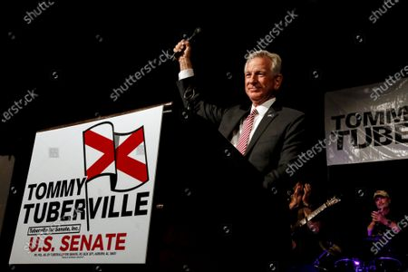Former Auburn coach, Tommy Tuberville, speaks to supporters after he defeated Senator Jeff Sessions in the runoff election in Montgomery, Ala. U.S. Sen. Doug Jones is outspending Tuberville in the home stretch of Alabama's Senate race