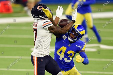 Los Angeles Rams safety John Johnson III, right, breaks up a pass intended for Chicago Bears wide receiver Anthony Miller during the second half of an NFL football game, in Inglewood, Calif