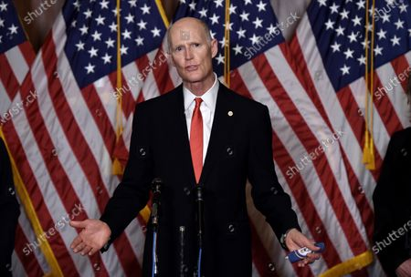 Sen. Rick Scott- R-Fla., speaks during a press conference after the Senate voted to confirm Amy Coney Barrett to the Supreme Court, in Washington. Barrett was confirmed by the Senate as the 115th justice to the Supreme Court