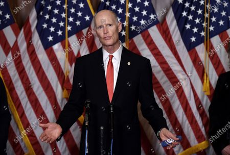 Republican Senator Rick Scott (R-Fl) speaks during a press conference after President Trump's Supreme Court nominee Judge Amy Coney Barrett was confirmed by the Senate as the 115th justice to the Supreme Court, on Capitol Hill in Washington, DC, USA, 26 October 2020.