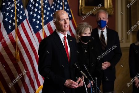 Senator Rick Scott (R-FL) speaks during a press conference after President Trump's Supreme Court nominee Judge Amy Coney Barrett was confirmed by the Senate as the 115th justice to the Supreme Court, on Capitol Hill in Washington, DC, USA, 26 October 2020.