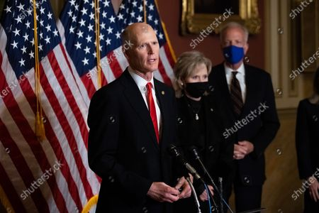 Senator Rick Scott, R-FL, speaks during a press conference after President Trumps Supreme Court nominee Judge Amy Coney Barrett was confirmed by the Senate as the 115th justice to the Supreme Court, on Capitol Hill, Monday, October 26th, 2020.