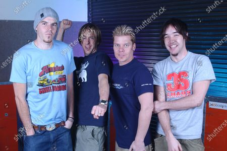 Chris Chaney, Chris Hesse, Dan Estrin and Doug Robb of Hoobastank pose for a portrait backstage at the Sunrise Musical Theater, Sunrise, Florida, USA - 13 Mar 2002