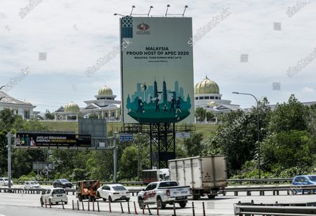 A billboard for the upcoming APEC2020 in Kuala Lumpur, Malaysia, 27 October 2020. Malaysia is set to host the first virtual APEC economic leaders meeting on 20 November due to the travel restrictions caused by the coronavirus pandemic.
