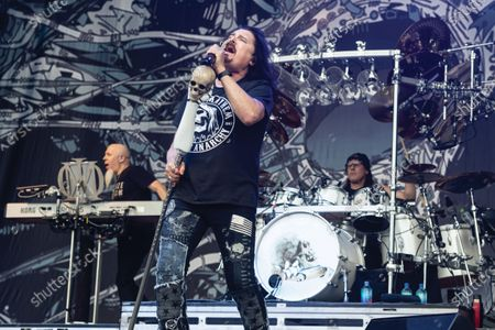 Jordan Rudess, James Labrie and Mike Mangini of progressive metal group Dream Theater performing live on stage during Download Festival at Donington Park, on June 16, 2019. (Photo by Kevin Nixon/Prog Magazine)