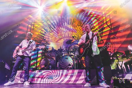 Stock Picture of Guy Pratt, Nick Mason and Gary Kemp of progressive rock group Nick Mason's Saucerful Of Secrets performing live on stage at The Roundhouse in London, on May 3, 2019. (Photo by Carsten Windhorst/Prog Magazine)