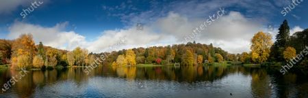 Panoramic landscape of the lake and autumnal trees at the Stourhead estate in Wiltshire, England, on November 4, 2019. (Photo by Peter Travers/PhotoPlus Magazine)