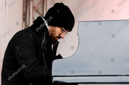 German-Russian concert pianist Igor Levit performs during a protest against the Alternative for Germany (AfD) right wing populist party in Potsdam, Germany, 27 October 2020.