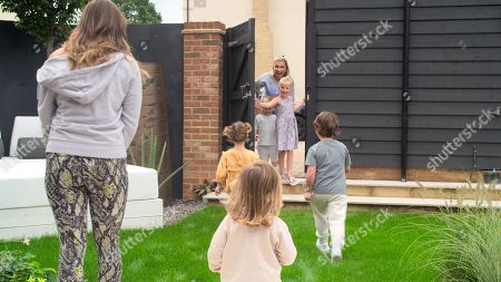 Stock Photo of Sunday, Sam Faiers with Little Paul and Rosie and Billie Faiers with Nelly and Arthur.
