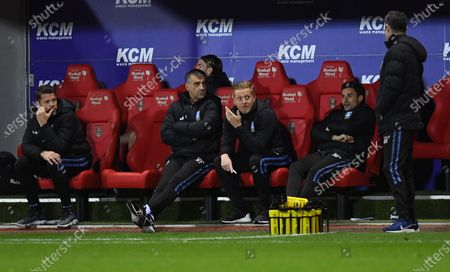 Garry Monk manager of Sheffield Wednesday sits in the dugout