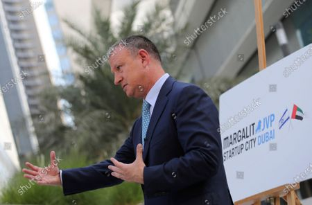 Erel Margalit, founder and chairman of Jerusalem Venture Partners, JVP, talks to The Associated Press in Dubai, United Arab Emirates, . Another plane full of Israeli business people excited about their newfound access to the UAE has touched down in Dubai this week. It's the latest whirlwind trip seeking to cash in on a U.S.-brokered deal to normalize relations between the countries