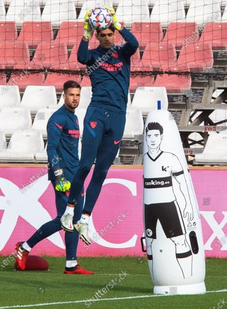 Sevilla goalkeeper Thomas Vaclik (L) and Yassine Bounou (R) perform during their team's training session at Ramon Sanchez Pizjuan stadium in Seville, Spain, 27 October 2020. Sevilla FC will face Stade Rennes in their UEFA Champions League group E soccer match on 28 October 2020.
