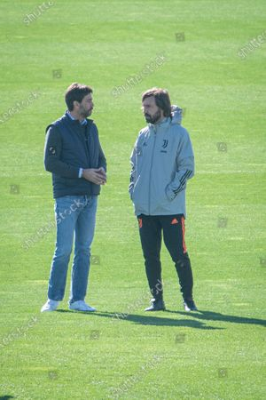 Juventus training ahead of the Champions League match Juventus Barcelona. Andrea Pirlo and Andrea Agnelli