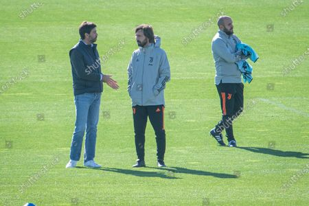 Juventus training ahead of the Champions League match Juventus Barcelona Andrea Pirlo Andrea Agnelli