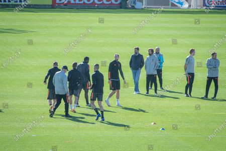 Juventus training ahead of the Champions League match Juventus Barcelona. Andrea Pirlo and Andrea Agnelli.
