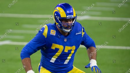 Los Angeles Rams offensive tackle Andrew Whitworth during an NFL football game against the Chicago Bears, in Inglewood, Calif