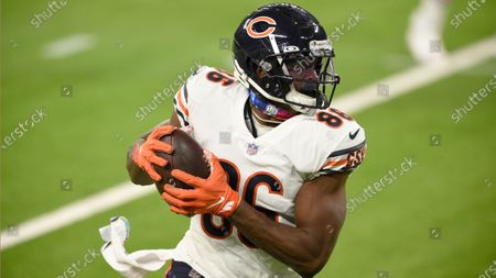 Chicago Bears tight end Demetrius Harris runs during the second half of an NFL football game against the Los Angeles Rams, in Inglewood, Calif