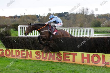 Miss Amelia and Henry Brooke jump the last to win swanwaygarages.com Oliver Greenall Racing Handicap Chase at Bangor-on-Dee.