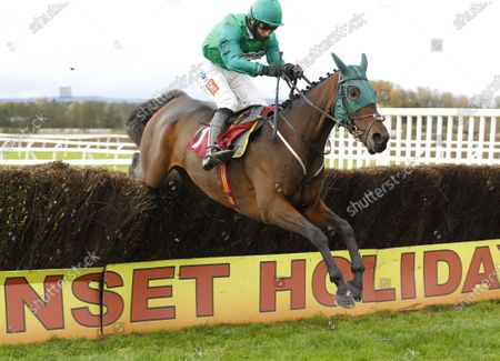 Stock Picture of Good Boy Bobby and Daryl Jacob jump the last to win Oliver Greenall Racing Supporting Malpas Businesses Intermediate Chase at Bangor-on-Dee.