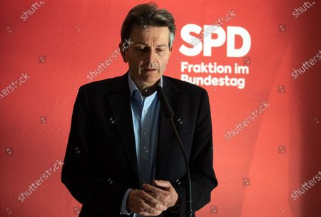 Bundestag faction chairman of Social Democratic Party (SPD) Rolf Muetzenich gives a statement prior to a faction meeting of the Social Democratic Party (SPD) at the German parliament Bundestag in Berlin, Germany, 27 October 2020. German Parliament Vice President Thomas Oppermann has died at the age of 66 after suddenly collapsing while waiting for a live TV interview in the evening on 25 October.
