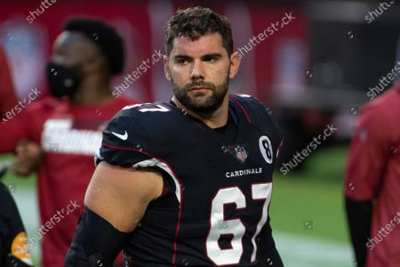 Arizona Cardinals offensive guard Justin Pugh (67) looks on prior to an NFL football game against the Seattle Seahawks, in Glendale, Ariz