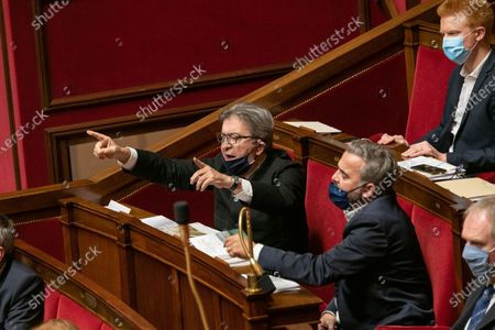 Jean-Luc Melenchon, Adrien Quatennens and Alexis Corbiere during the weekly session of questions to the government at the French National Assembly.