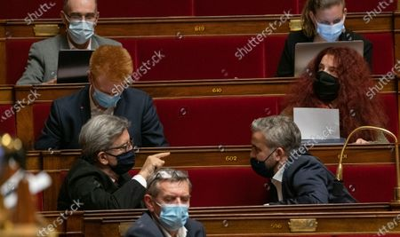 Jean-Luc Melenchon and Alexis Corbiere during the weekly session of questions to the government at the French National Assembly.