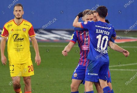 Russian Premier League. Tinkoff - Russian Football Championship 2020/2021. 12th round. CSKA Moscow vs Arsenal Tula at the VEB Arena stadium. Left to right: Arsenal player Goran Chaushic, CSKA players Fyodor Chalov and Alan Dzagoev during the match.
